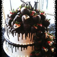 Chocolate Covered Strawberry Grooms Cake