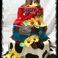 Girly Western Cake All Fondant with gumpaste boots.