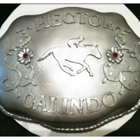 Buckle All fondant air brushed with silver and poured sugar rhinestones.