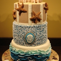 Destination Wedding   Modeling chocolate and buttercream beach themed wedding cake. Bride and groom, starfish and seashells also made from modeling chocolate.