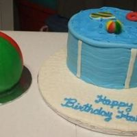 Pool Party With Beach Ball Smash Cake Pool cake is MMF on the sides using (trying to) an impression mat, top is BC. Toys are MMF and ladder is gumpaste. Board is also MMF trying...