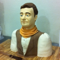 John Wayne Bust This is my first attempt at a life size 3D bust of John Wayne. The cake is the body from the next down. I purchased a styrofoam wig stand...