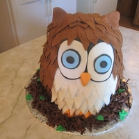 Baby Shower Owl Fondant Feathers and eyes. Chocolate cake. 3 tiers carved to the shape of an owl.