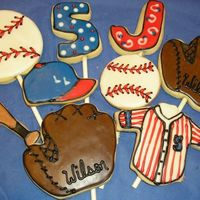 Baseball Cookies A sampling of the 40 baseball cookies I made last week. These were so much fun!NFSC with Alice's cookie icing.