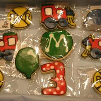 Train Cookies Trains, RR crossing signs, and balloons for a friend's son. NFSC with Alice's cookie icing.