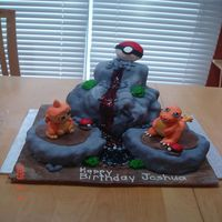 Pokemon Battle Dome Volcano Pokeball Characters made of rice crispies and fondant. The lava made of piping gel.