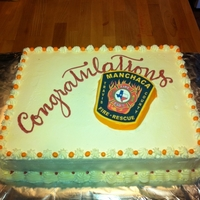 Manchaca Fd - Ground Breaking Cake   White cake with buttercream, photo transfer of their patch