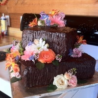 Country Wedding Chocolate Cake   Rustic chocolate cake with wild flowers