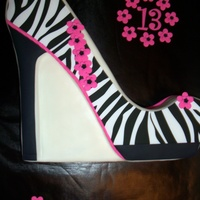 Zebra Shoe Cake As you can see this was made for a 13 year old, who happens to be my niece. She loved it!