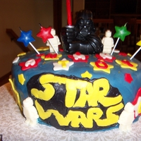 Star Wars Cake Small Star Wars cake, covered with marshmellow fondant and vader is a candle.