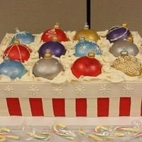 Box Of Ornaments   WASC and red velvet layered base with ornament toppers made from a 1/2 ball pan.