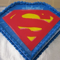 "Superman ""S"" emblem is made from Sugar Sheets (edible paper) brushed with pearl dust for the highlight effect. Everything else is BC...."