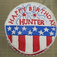 "4Th Of July Birthday Cake This is a 4-layer 9"" round iced in buttercream made for my son's 10th birthday. Thanks for looking!"