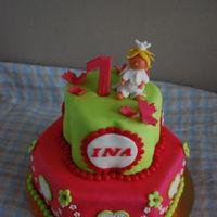 Little Princess This cake was ordered by a grandmother for the first birthday of her little princess.She asked pink and green and a little girl on top.