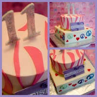 Peace Signs Pink Zebra Strips And Hearts All buttercream with fondant accents