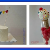 Ice Cream Cone Cake Pops - Carnival Fun Cake with hand crafted simple bunting and a variety of more Cone pops. WASC filled with SMBC and covered with all Butter cream.