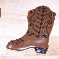 Cowboy Boots! Part of an order for lots of shoe-shaped cookies! NFSC with glace.