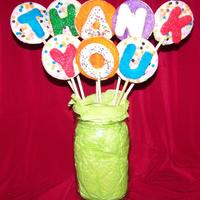 "Thank You Bouquet! A fun cookie bouquet to say ""Thanks!"" NFSC with glace on bamboo skewers."