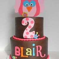 Owl Birthday Fudge marble cake iced in chocolate buttercream with fondant accents, made to match the invitations.
