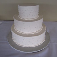 "Pearls 3 tier round, 6, 9, 12"", Buttercream and dragees."