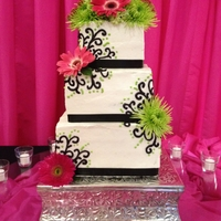 Bright Pink, Green And Black Wedding Cake
