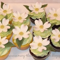 Dogwood Cupcakes Cupcakes made for a bridal luncheon. Bride's grandmother's favorite flower was dogwood.