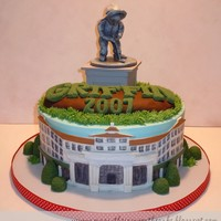 A Birthday At Pinehurst Cake made for a golf themed birthday party at the Pinehurst Resort, featuring the historic inn, the bushes that spell out the Pinehurst...