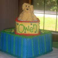 Owen Owen has a golden retriever that he adores; so his Mom wanted Cooper on his 1st birthday cake. Chocolate chip cake with buttercream