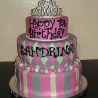 Princess Cake   marble cake with buttercream and marshmallow fondant topped with a royal icing tiara