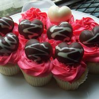 Valentines Chocolate Heart Cupcakes Molded chocolate hearts