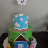 Backyardigans Cake House, characters, and topper made of gumpaste. Iced in BC with fondant accents. I can't believe my baby is 5!