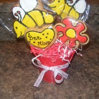 "Bee Mine Cookie Bouquet Cookie Bouquet Basket for V-day. 2 bee cookies with matching flower and Heart that says ""BEE MINE"""