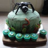 Spider Cake  Banana cake with chocolate butter cream filling, covered with fondant icing. Mini cupcakes to put the child's name and candles in.All...