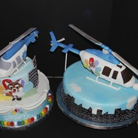 News Helicopter 2 cakes for 2 parties ... Made to say good bye to a long time news helcopter in NYC when it was grounded!