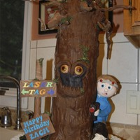Laser Tag Spooky Tree! This cake was made for a laser tag party that was happening close to Halloween. My son wanted a kid with a gun sneaking behind a spooky...