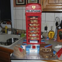 English Phone Booth Made for a group of kids going to England for a Spring Break Class Trip ... each kid was represented in the phone booth with a cake pop!