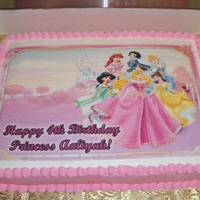Disney Princess Cake This is a cake I made for my grand-daughter's 4th birthday. Using a pre-printed sugar sheet made decorating a breeze.
