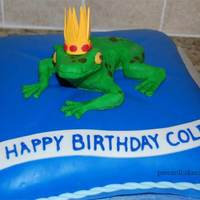 Frog Prince Fondant covered cake. Frog is modeling chocolate.