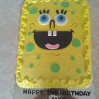 Spongebob 1/2 sheet, yellow, buttercream with fondant decorations