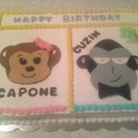 Monkey Business My first monkey and gorilla. Person wanted a monkey and gorilla on the same cake for her sister and cousin. Yellow cake, buttercream icing...