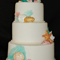 Seascape Cake This cake was made for a 30th Wedding Anniversay. 10, 8 and 6 inch tiers with vanilla cake and vanilla bean SMBC. The top coral is made...