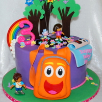 Dora & Diego Cake Client wanted a Dora/Diego cake...so this is what I came up with. Fondant covered with gumpaste accents and character toys. TFL!
