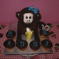3D Monkey Birthday Cake I made this cake using the 3d bear pan :)