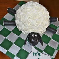 Sheep/motorcycle Themed Cake Made this sheep cake for a baby shower. Mom wanted sheep and dad is a motorcycle fan, so this sheep and broken motorcycle pieces were...