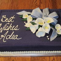 12X18 Bridal Shower Cake Featuring Eggplant Purple Fondant Silver Fondant Bow White Hand Made Calla Lilies And Fondant Bells Made Using A 12x18 Bridal Shower cake featuring eggplant purple fondant, silver fondant bow, white hand-made calla lilies and fondant bells made using a...
