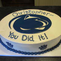 Penn State Grad Cake This Penn State family requested their fav: WASC cake with strawberry cream filling and my French Buttercreme frosting. Yum! Nothing fancy...