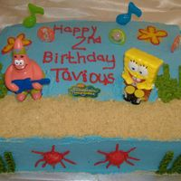 Spongebob Square Pants i made this cake for my newphew for this 2nd birthday. this is a 2 layer 1/2 sheet yellow cake with buttercreamicing and accents. spongebob...
