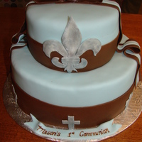Mason's 1St Communion   Cake is Rocky Road flavour covered in fondant