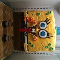 Sponge Bob Square Pants This cake was really fun to create. My husband made a skeleton frame for me. The cake is 3-D and stands up. The little girl I made it for...