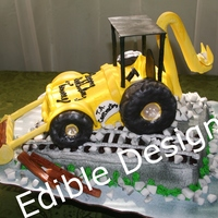 Back Hoe Tractor   tractor made of cake and gum paste